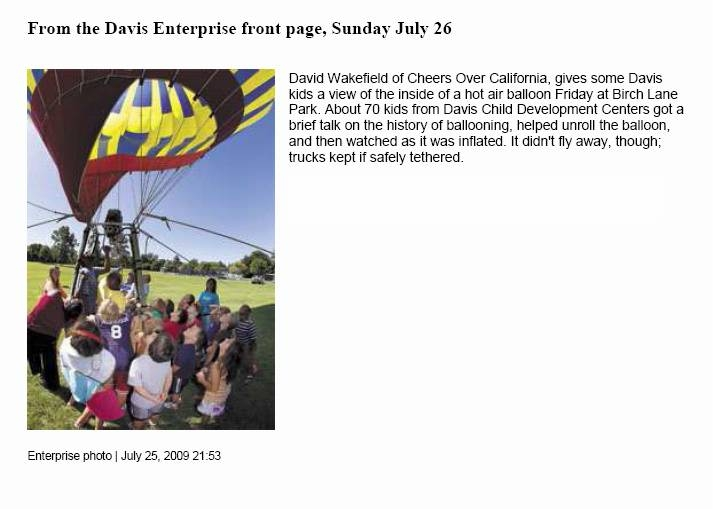 Front Page of the Davis Enterprise - School Presentation - Davis California